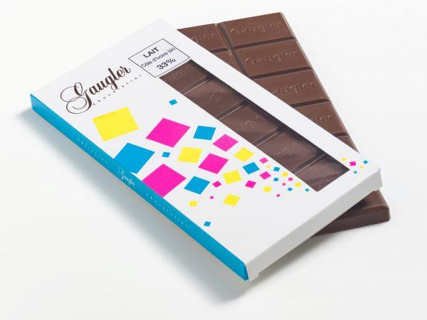 Tablette au chocolat au lait Côte d'Ivoire bio 33% de cacao