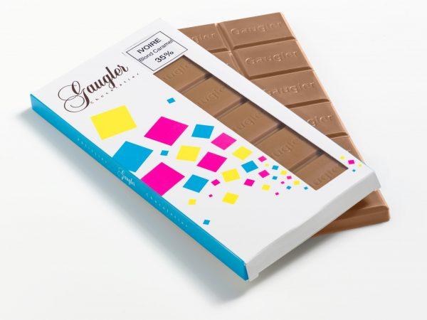 Tablette au chocolat au lait blond caramel 35% de cacao